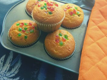 Eggless Orange Tutti frutti Muffins -  Fruity Orange muffins with a combination of tutti frutti.