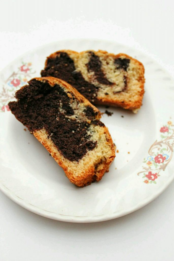 Eggless Marble Cake - Learn to make classic marble cake without using eggs.