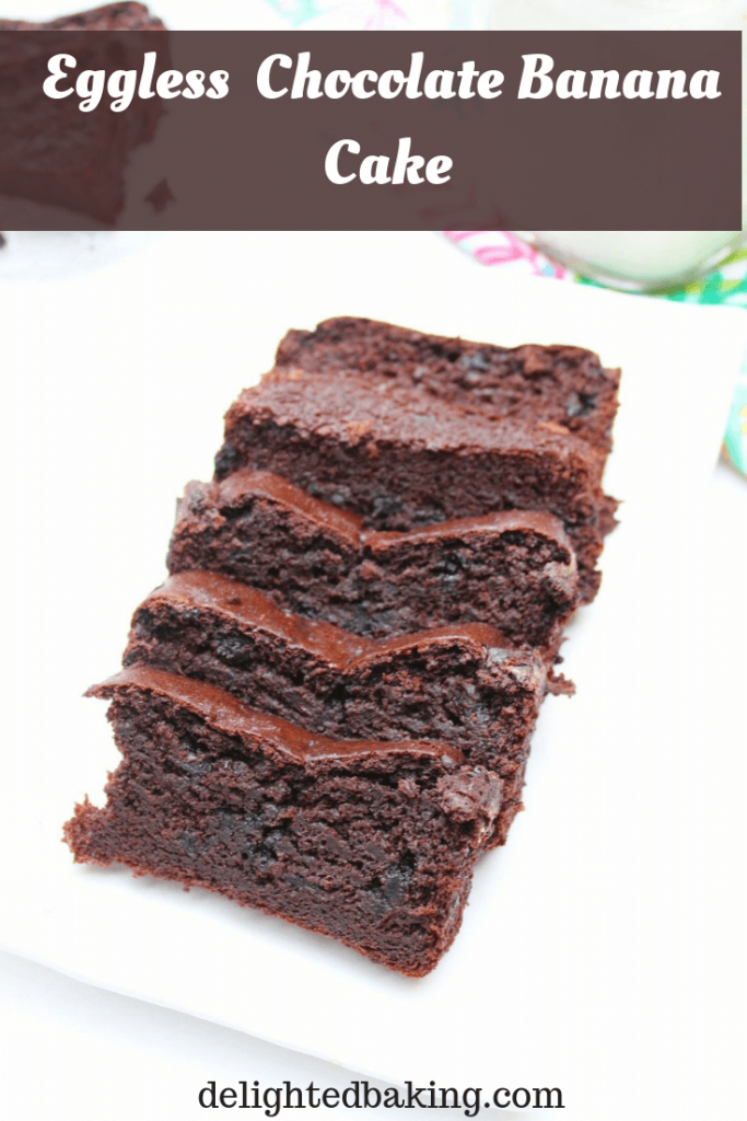 Eggless Chocolate Banana Cake - Soft, moist and one of the tastiest banana chocolate desserts. Grab a slice of this chocolate banana cake with a cup of hot tea or coffee and you are sorted!
