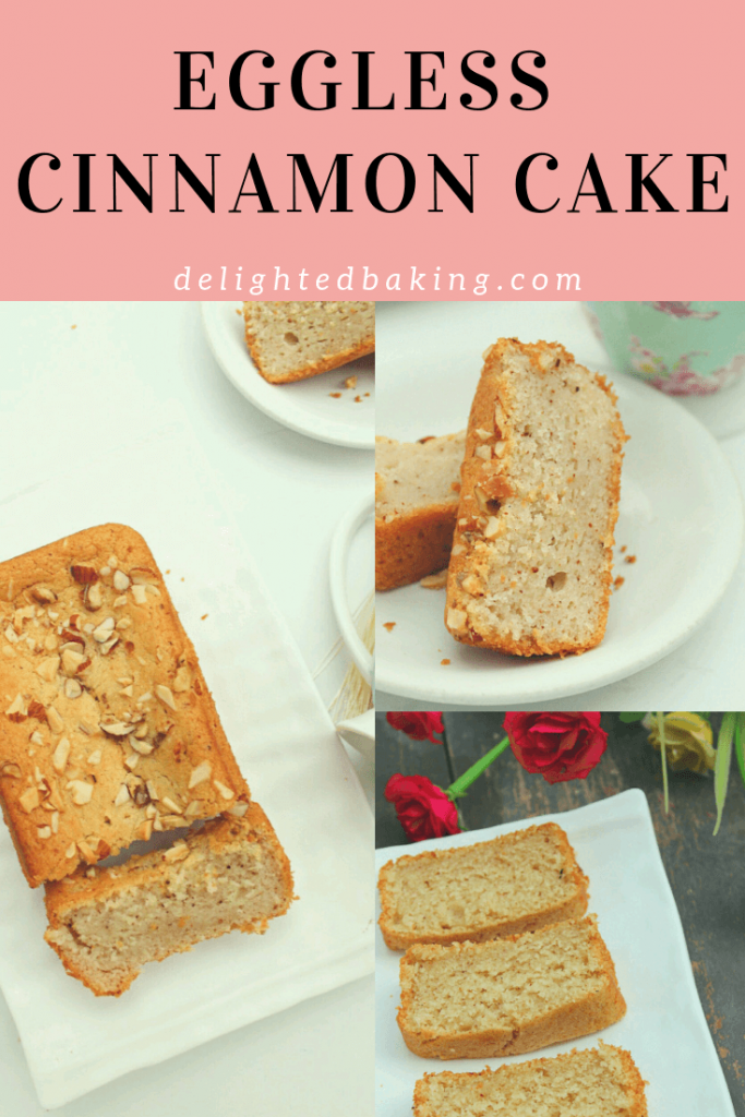 Eggless Cinnamon Cake : Simple, moist and full of cinnamon! Prepare this eggless cake for tea time, serve it as a dessert or eat a slice of this eggless cinnamon tea cake with a cup of tea or hot coffee! #egglessbaking #egglesscake